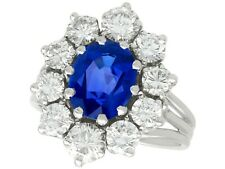 1.84ct Burmese Sapphire and 2.35ct Diamond, 18ct White Gold Cluster Ring