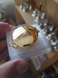 Small Brass pyx Come Holy Spirit dove Eucharist Communion wafer Catholic 4cm