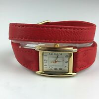 Isaac Mizrahi Womens Stainless Steel Japan Movement Watch Leather Band Strap