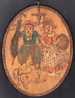 1907 First Burning Paul Gentil Cute Dutch Couple with Dog Windmill Pyrography