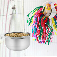 Stainless Bird Animal Cage Food Water Bowl + Rack Parrot Parakeet Cage Cup