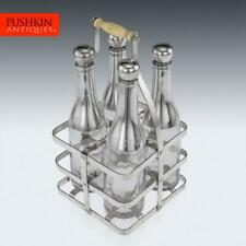 More details for antique 19thc french silver plated & glass tantalus set c.1880