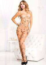 Sheer Nude + Black Vine Leaf Print Low Back Body Stocking Sexy Lingerie P1061