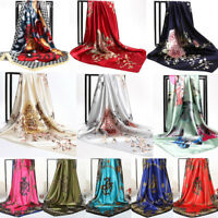 Womens Silk-Satin Square Scarf Bandana Neckerchief Head Neck Wrap Scarves Shawl