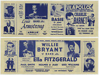 Ella Fitzgerald BILLIE HOLIDAY Louis Armstrong 1946 Apollo Concert Handbill WOW!