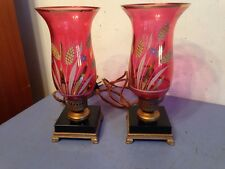 Pair Of Antique Boudoir Or Accent Lamps Vase Urn Hand Painted Cranberry Glass