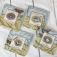 """New View Set of 4 Ceramic Wall Plaques Nest Family Friends Home Birds Welcome 5"""""""