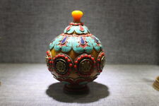Nepal Beeswax handwork inlay Turquoise coral  Buddhism 8 treasures crock Pot Vas