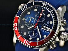 NEW DEEP BLUE 40MM DIVER 1000 QUARTZ CHRONOGRAPH PEPSI SAPPHIRE SILICONE WATCH