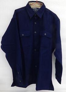 NEW Polo Ralph Lauren Mens Rupert Wool Long sleeve Shirt Large 46-48 Navy Blue