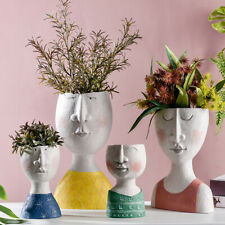 Resin Flower Pot Portrait Sculpture Planter Succulent Vase Face Decoration NEW