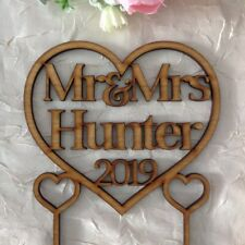 Mr & Mrs Wedding Cake Topper Personalised cake Decor with surname rustic wooden