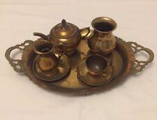 Vintage Decorative / Child's Brass TEA SERVICE SET ARTS AND CRAFT Handmade Tray
