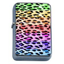 Wild Animal Print D10 Flip Top Dual Torch Lighter Wind Resistant Rainbow Leopard