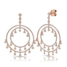 1.42CT 14k Rose Gold Circle Drop Dangle Diamond Shaker Dreamcatcher Earrings