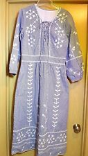 Ethnic M blue and white stripe embroidered eyelet peasant dress mid-calf India