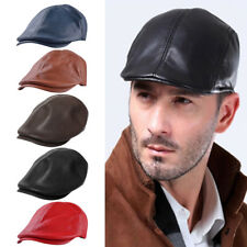 Men Leather Newsboy Gatsby Ivy Cap Driving Flat Cabbie Beret Driver Warm Hat US