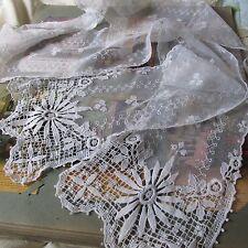 Antique Victorian French Lace & Crochet Wedding Scarf/Veil/Lappet Fleur de lis