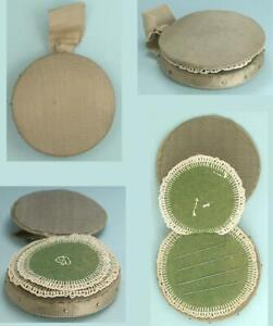 Antique Silk & Embroidered Needle Book / Pincushion * English * Circa 1850