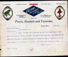 1902 Detroit Mi - Paints Enamels Varnishes Acme White Lead of Color Letter Head