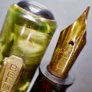 BELMONT Pearl Green Lever Fountain Pen ARCH PEN 14K Gold Flex F Nib Serviced