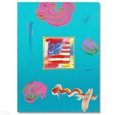 """PETER MAX """"Flag"""" ORIGINAL MIXED MEDIA MINT COA"""