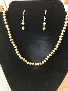 GOLD COLOR BEADED NECKLACE AND EARRING SET~HAND KNOTTED!  NWOTGS BEAUTIFUL!