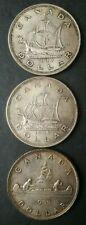 Lot of Three Canada $1 Silver Dollars