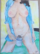 "Peinture dessin aquarelle erotique, nu féminin fine art ""café"" A4 21x 29,7"
