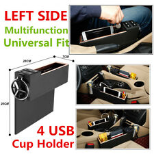 Car Left Storage Box Gap Filler Catcher Phone Holder Coin Organizer 4USB Charger