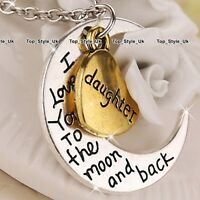 Gold Heart & Silver Moon Necklace Xmas Present Gifts for Her Daughter I love you