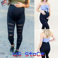 Pregnant Women's Slim Pants Ripped Maternity Leggings Stretch Casual Trousers US