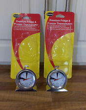 2 PREMIUM DIAL STAINLESS STEEL FRIDGE FREEZER THERMOMETERS