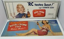 (2)1940's Royal Crown Cola Hollywood Color Advertising Trolley Signs-30 x 11