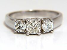 1.08CT CLASSIC THREE NATURAL CUSHION & ROUNDS DIAMOND RING 14KT +