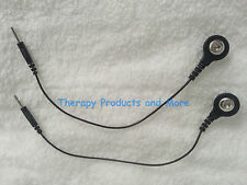 (2) Electrode Lead Wires Black PIN-TO-SNAP w/ 2mm male pin connector
