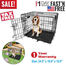 "Black 24""  Pet Cage Folding Dog w/Divider Cat Crate Cage Kennel w/Tray US"