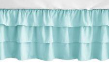 Solid Turquoise Ruffled Tiered Baby Girl Crib Bed Skirt Dust Ruffle Sweet Jojo