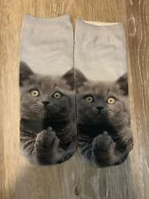 1 Pair Novelty Cotton Blend Women Unisex Low Ankle Socks Cat Middle Finger Funny