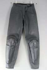 DAINESE BLACK LEATHER BIKER TROUSERS + KNEE/SHIN CE ARMOUR:WAIST 24/I. LEG 27""