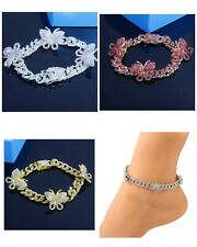 Chain for Women Iced Out Charm Adjustable Rhinestone Cuban Link Butterfly Anklet