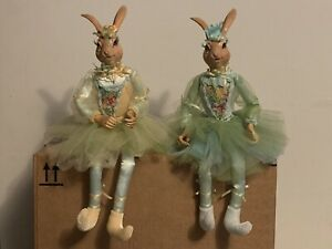 "Wayne M. Kleski Easter Rabbit Bunny Dolls Shelf Sitter 16"""