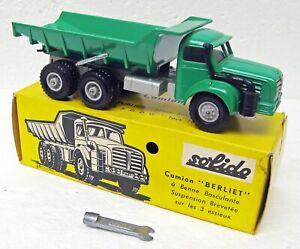 Rare Camion Berliet Dump Truck green 1/50 Solido 303 France MB
