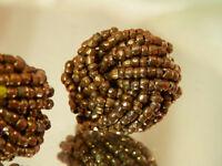 Classy Vintage 60's Copper Hue Glass Seed Bead Screw Back Earrings 19o7