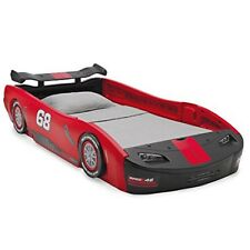 Turbo Race Car Twin Bed Standard Size Durable Racer Red Blk Sleep Nap Children