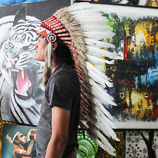 INDIAN HEADDRESS White Chief War bonnet Costume Native American Halloween