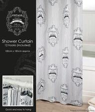 Vintage Maison Paris Print Inspired Shower Curtain Stripes