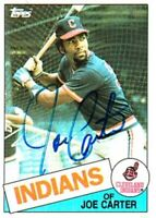 Joe Carter autographed signed autograph Cleveland Indians 1985 Topps card #694