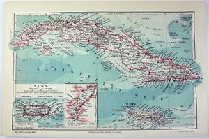 Cuba - Original 1904 German Map by Meyers. Antique