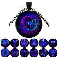 3 pcs 12 constellation series retro black glass pendant necklace A2